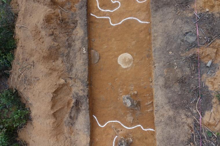3 화지산 정상부에서 확인된 원형초석 건물지 전경.jpg